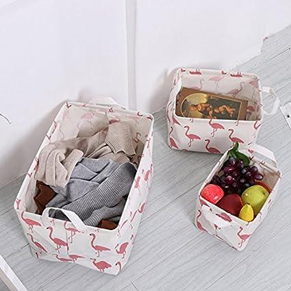 Flamingo Toy Storage Baskets Made from Eco-Friendly Cotton Household Storage Organizer Baby Storage and Toy Organizer Nursery Baskets Fit Most Shelves