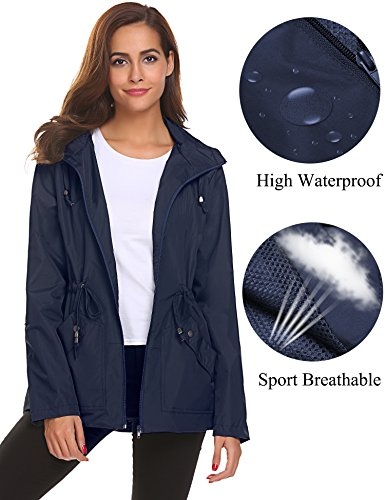 Active Jackets for Women Water Repellent Softshell Trench Coat with Hoodie Sport,Blue Waterproof Rain Jacket,Small ()