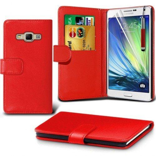 Samsung Galaxy A7 Cubierta del caso con cuero (Rojo) Plus de regalo libre, Protector de pantalla y un lápiz óptico, Solicitar ahora mejor caja del teléfono Valorado en Amazon! By FinestPhoneCases