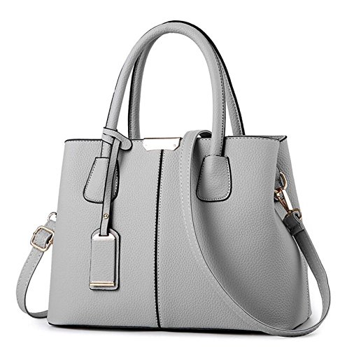 Ladies Lether Big Aassddff Capacity Bolso Top Casual Bolsas Rosa Gris Casual Lb24 Vogue Crossbody Star Hombro Handbags Tote Pu Mujeres Solid CrCzqwx8O