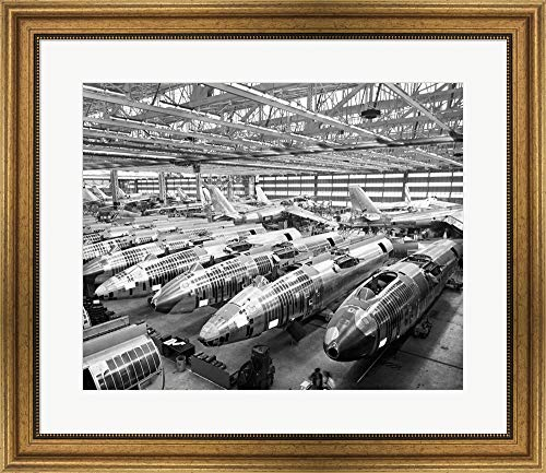 (Incomplete Bomber Planes on The Final Assembly Line in an Airplane Factory, Wichita, Kansas, USA Framed Art Print Wall Picture, Wide Gold Frame, 28 x 24)