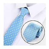 Big Boy Sky Blue Polka Dot Silk Cravat Tie Casual Neckwear Holiday Gifts for Men