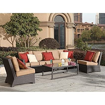 Amazon.com : Darlee Vienna Wicker 4 Piece Outdoor Sofa Set ...