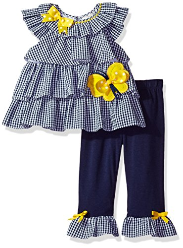 Girls Rare Editions (Rare Editions Baby Girls' Seersucker Legging Set, Navy/White/Yellow, 24M)