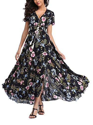 Women's Button up Floral Maxi Dress Short Sleeve Flowy Cocktail Dress Regular & Plus Size Shirred Cocktail