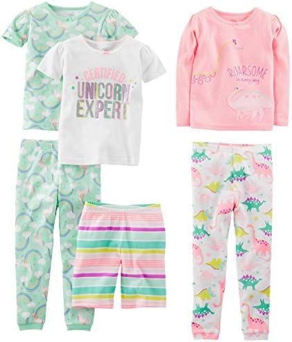 Simple Joys by Carter's Girls' 6-Piece Snug Fit Cotton Pajama Set