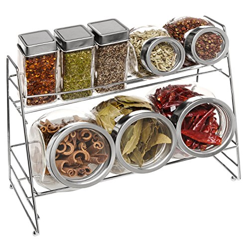 Set of 8 Deluxe Clear Glass Lidded Condiment Canister Jars / Spice Shakers w/ 2 Tier Metal Display Rack