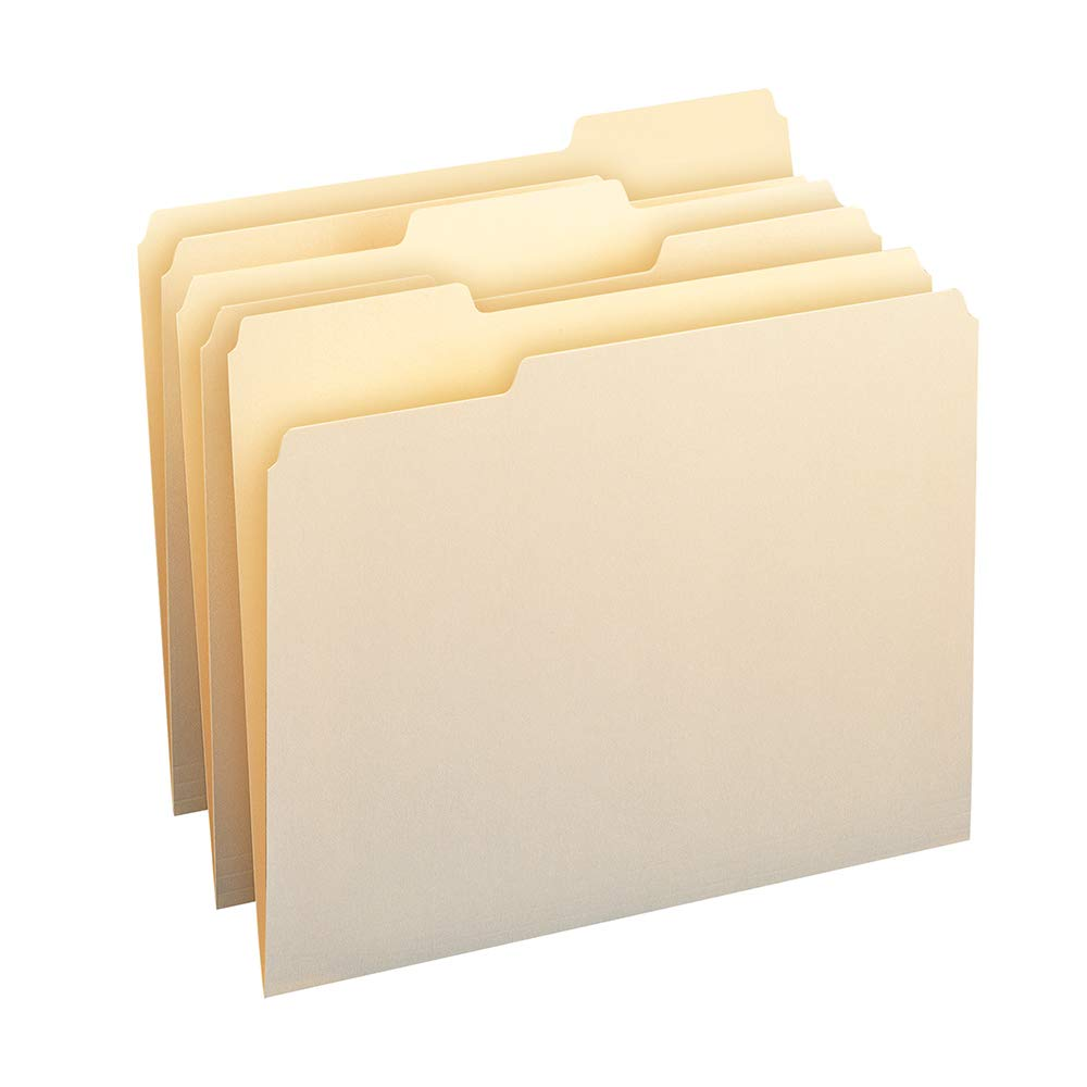 Smead File Folders 1//3 Cut Second Position One-Ply Top Tab Letter Manila 100//box