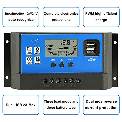 PowMr 60a Charge Controller - Solar Panel Charge Controller 12V 24V,Adjustable Parameter LCD Display Current/Capacity and Timer Setting ON/Off with 5V Dual USB(CM-60A) by PowMr (Image #1)