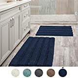 Navy Blue Bathroom Rugs Slip-Resistant Extra Absorbent Soft and Fluffy Thick Striped Bath