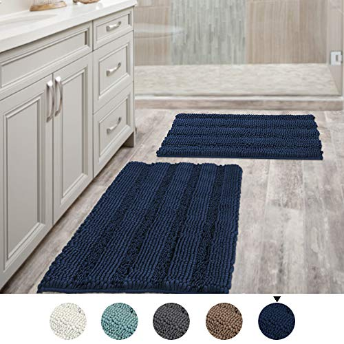 Navy Blue Bathroom Rugs Slip-Resistant Extra Absorbent Soft and Fluffy Thick Striped Bath Mat Non Slip Microfiber Shag Floor Mat Dry Fast Waterproof Bath Mat (Set of 2 - 20