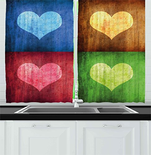 Ambesonne Romance Kitchen Curtains, Heart Figures on Different Boxes Retro Stylized Love Valentines Graphic, Window Drapes 2 Panels Set for Kitchen Cafe, 55W X 39L Inches, Blue Pink Brown Green (Curtain Panels Graphic)