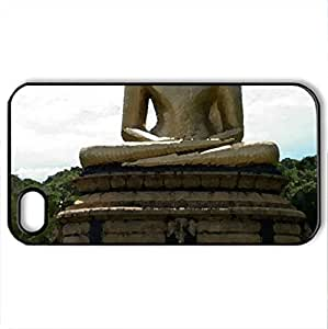 Buddha - Case Cover for iPhone 4 and 4s (Religious Series, Watercolor style, Black)