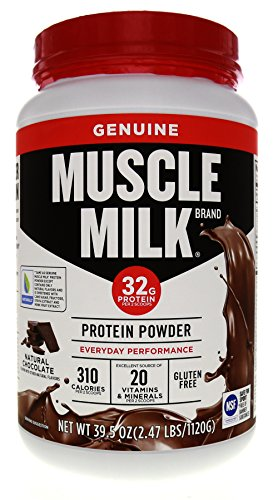 Muscle Milk Genuine Protein Powder, Natural Real Chocolate, 32g Protein, 2.47 Pound