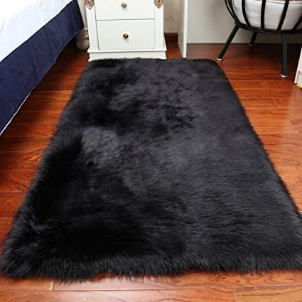 Sheepskin Faux Fur Shag Rug for Bedroom Living Room or Nursery,Faux Sheepskin Shaggy Area Rugs Children Play Carpet Black,6x9ft