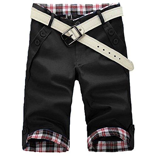 HEMOON Men's Perfect Work Short D3 Classic Fit Flat Front Black 32W