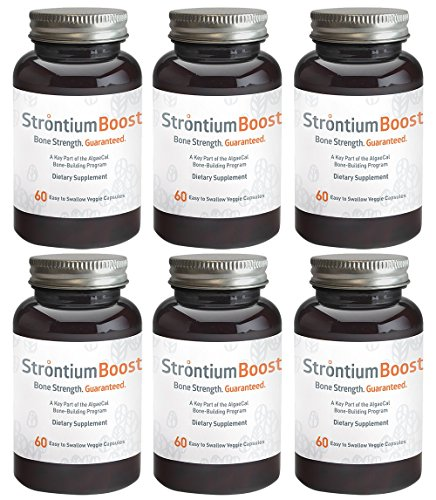 Strontium Boost – Natural Strontium Citrate Supplement – Scientifically Proven to Increase Bone Density in 6 Months – 60 Easy-to-Swallow Veggie Capsules – 6 Bottles For Sale