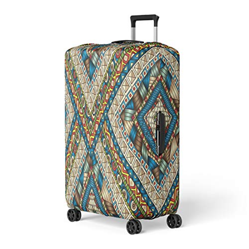 - Pinbeam Luggage Cover Original Drawing Tribal Doddle Rhombus Geometric Clipping Mask Travel Suitcase Cover Protector Baggage Case Fits 26-28 inches