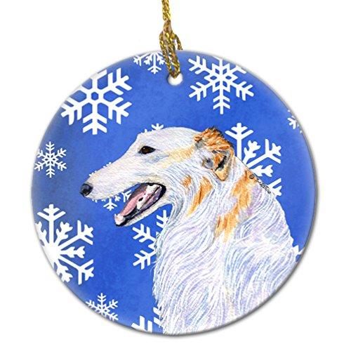 Caroline's Treasures SS4613-CO1 Borzoi Winter Snowflakes Holiday Christmas Ceramic Ornament SS4613, 3 in, Multicolor