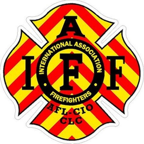 ION Graphics 4 Inch IAFF Chevron Firefighter Maltese Cross Firefighter Sticker Size: 4x4 Inches ()