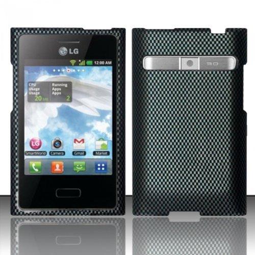 [Extra-Terrestrial]For LG Optimus Logic L35g / Dynamic L38c (StraightTalk/Net 10) Rubberized Design Cover - Carbon Fiber (Phone L38c Lg For Accessories)