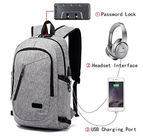 Anti Theft Business Laptop Backpack with USB Charging Headphones Port for 15.6-Inch Laptop Grey by Iwalouges