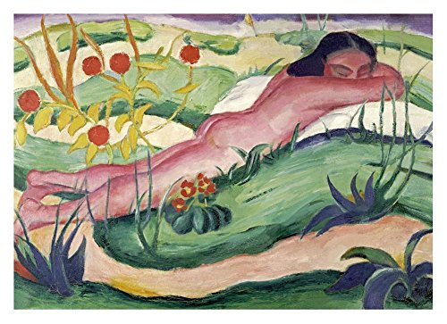 """Global Gallery DP-265157-30 """"Franz Marc Nude Lying in The Flowers"""" Unframed Giclee on Paper Print, 21 1/4"""" X 30"""""""