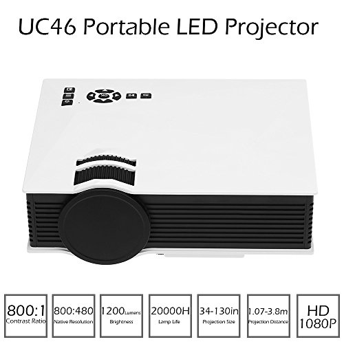 Docooler UC46 Portable LED Projector 1200 Lumens 1080P DLNA Miracast WiFi Display USB / VGA Input White