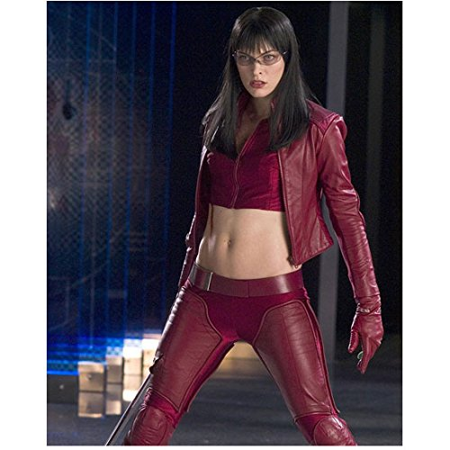 - Milla Jovovich 8 inch x10 inch Photo The Fifth Element Resident Evil: Apocalypse Resident Evil: Extinction Wearing Maroon Crop Top Leather Jacket & Pants kn