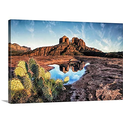 (Scott Stulberg Solid-Faced Canvas Print Wall Art Print Entitled Cathedral Rocks with Reflection at Sunset in Sedona, Arizona)