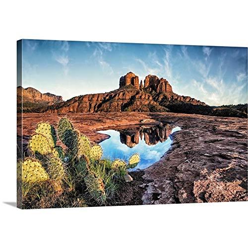 Cathedral Rocks with Reflection at Sunset in Sedona, Arizona Canvas Wall Art Print, 18