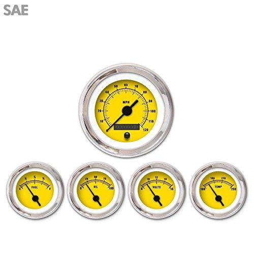 Black Vintage Needles, Chrome Trim Rings, Style Kit DIY Install Aurora Instruments 3339 Rider Yellow SAE 5-Gauge Set