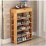 Dland Shoe Racks 5-Tier & 1-Cabinet Multi-function Economy Storage Rack Wood Shelf Organizer, Teak