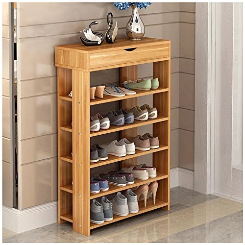 Square Teak Cabinet (Dland Shoe Racks 5-Tier & 1-Cabinet Multi-function Economy Storage Rack Wood Shelf Organizer, Teak)