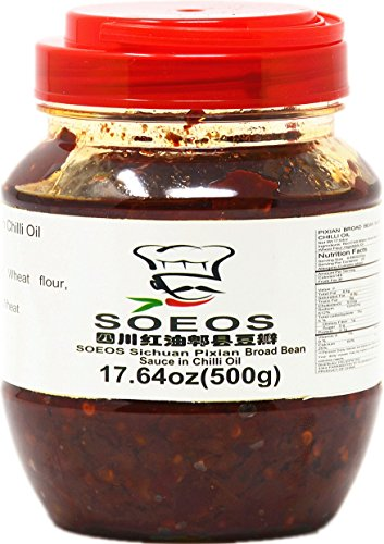 SOEOS Sichuan Pixian Boad Bean Paste with Chili Oil, Hongyou Doubanjiang with Red Chili Oil, Pixian Doubanjiang Chili Paste in Red Chili Oil (17.64oz Canister). ()
