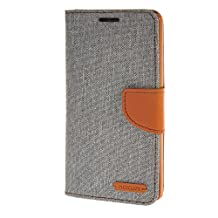 MOONCASE Case for LG G4 Denim Leather Card Slot Flip Wallet Bracket Back Cover Grey