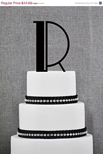ON SALE Monogram Personalized Initial Cake Topper in your Choice of Colors Art Deco Cake Topper Elegant Wedding Topper Unique Topper