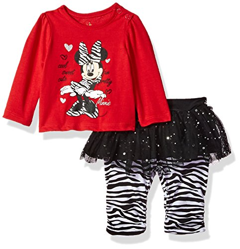 Disney Baby-Girls Newborn Minnie Mouse 2 Piece Zebra Print Skegging Set, Chinese Red, 3-6 Months