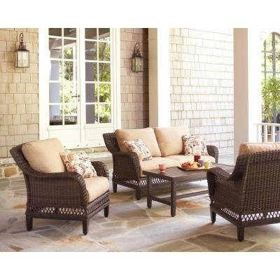 Woodbury 4-Piece Patio Seating Set with Textured Sand Cushion