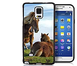 Samsung Galaxy Note 4 Case, Personalized Horse Couple Supreme Protection TPU Black Bumper Case Cover for Samsung Galaxy Note 4