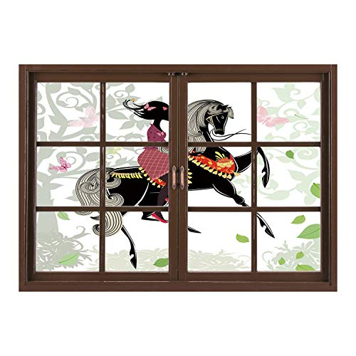 SCOCICI Creative Window View Home Decor/Wall Décor-Horse Decor,Spring Inspired Art Composition Girl on Pony with Ornaments Leaves Butterflies,Multicolor/Wall Sticker Mural