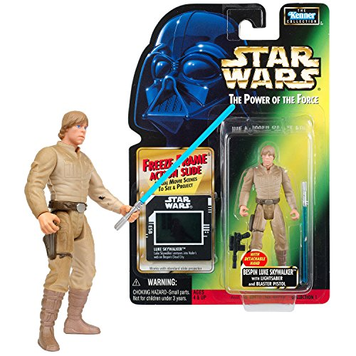 - SW Star Wars Year 1997 Power of The Force Series 4 Inch Tall Figure - BESPIN LUKE SKYWALKER with Lightsaber, Blaster and Freeze Frame Action Slide