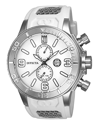 Invicta Men's JT Stainless Steel Quartz Watch with Polyurethane Strap, White, 1.3 (Model: 24301