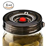 : 6-Pack Fermenting Lids Kit w/ Bonus Pump, galahome Waterless Airlock For Mason Jar Fermentation, Turn Wide Mouth Jars to Crock Pots, Black ( 2 Colors Available )