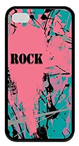 Funny Soft Black TPU Case Shell for iPhone 4 4S,Retro Rock Abstract Art Case for iPhone 4 4S,Pink and Green Case for iPhone 4 4S
