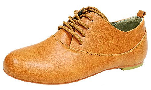 Spicy Womens F701 Lace-Up Closed Toe Brogue Oxford Wingtip Flat Camel 0QoWvy