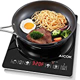 Aicok Induction Cooktop Countertop Burner Smart Sensor Touch Induction Cooker with Counter-down Timer and Kids Safety Lock, 15 Temperature and Power Settings, Black