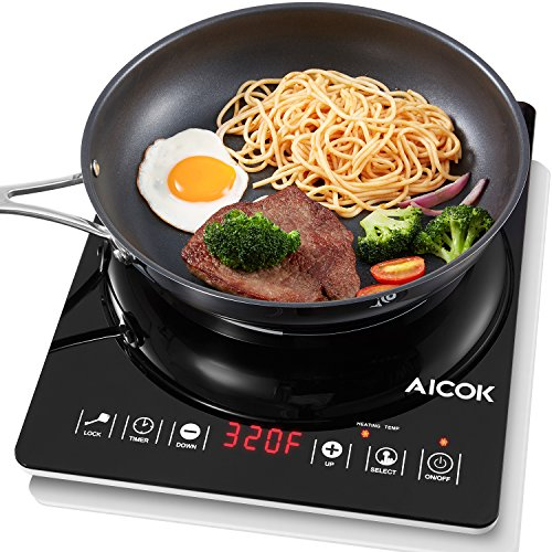 Aicok Portable Induction Cooktop Countertop Burner with LED display timer function, Sensor Touch Electric Induction Cooktop , Black (Lock 800 Dish 1)