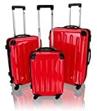 Exklusives 3 tlg. Hartschalen-Trolley-Koffer Set Boardcase/XL/XXL hell rot