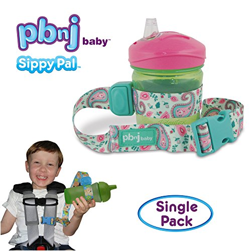 PBnJ Baby SippyPal Sippy Cup Strap Holder Leash Tether (1 Green Paisley) - Paisley Stroller Bag